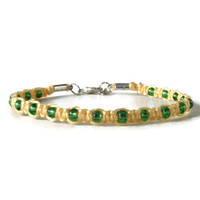 Yellow unisex macrame hemp bracelet with green glass beads, adjustable knotted adult friendship bracelet with carabiner clasp