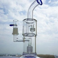 "Colorful 10"" Glass Bong Smoking glass Water pipes oil rigs double recycler birdcage perc 18.8mm Joint very thick glass"