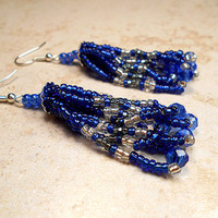 Long Sapphire Blue and Silver Plated Seed Bead Earrings with Faceted Crystals Boho September Birthstone Color Womens Gift Winter Christmas