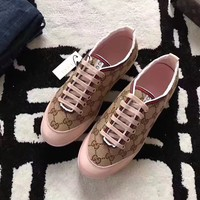 GUCCI Women Fashion Embroidery Casual Sneakers Sports Shoes Brow Pink