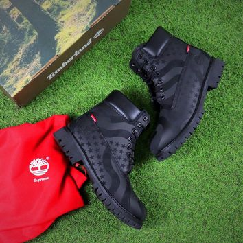 Supreme x Timberland 2017 A14LP Stars And Stripes Winter Boot Black Snow Boots - Best Online Sale