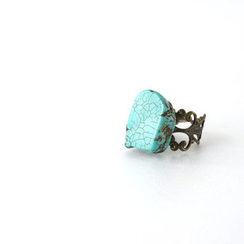 Green Turquoise Ring, Raw Stone on Bronze Filigree Adjustable Ring, Simple Raw Turquoise Jewelry
