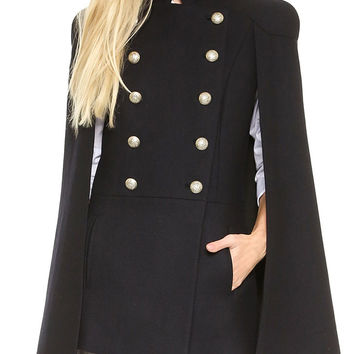 Black Buttoned Cape Coat