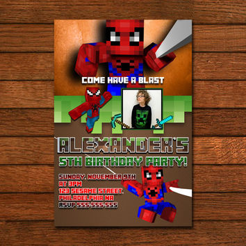 Minecraft Amazing Spiderman Invitation