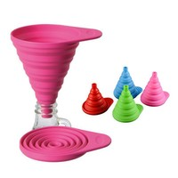 Silicone Collapsible Foldable Funnel for Transferring of Liquid Fluid (Random Color)