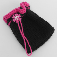 Pink and Black Knit Bag with Flower