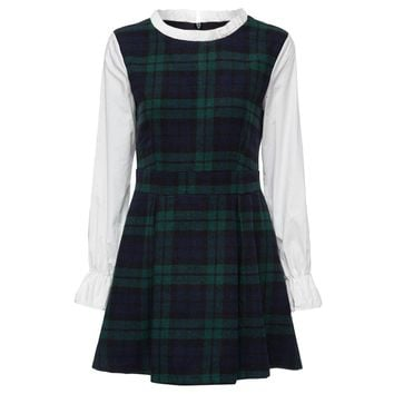Preppy Style Round Collar Long Sleeve Ruffled Plaid Print A-Line Women's Dress