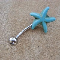 Belly Button Jewelry- Turquoise Starfish Star Fish Navel Piercing Ring Stone Stud Bar Barbell