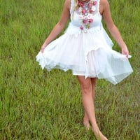 Boho Bridesmaid dress, Bohemian gypsy cowgirl tunic dress, Stevie Nicks Style tutu slip dress, Boho clothing, festival, True rebel clothing