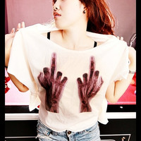 X-RAY Hands FUCK T-Shirt Crop Top Wide Neck Shirt Antique Off White Women Tee Shirt Free Size Fits For S M L XL