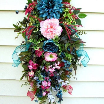 Summer door wreath, spring door swag, swag wreath, floral door swag, spring swag, everyday wreath, country home decor, summer swags