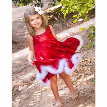 Baby Girls Kids Christmas Party Red Cotton Paillette Tutu Dresses Xmas Gift US