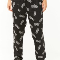 Pineapple Print Satin Pajama Pants