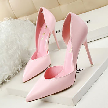 Pointed Toe Korean Simple Design Sexy Club Slim High Heel Hollow Out Shoes [9511454349]