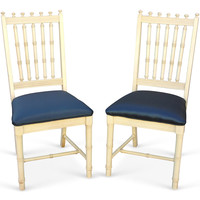 Spindle-Back Painted Chairs, Pair