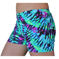 GemGear Neon TieDye Volleyball Spandex Shorts                                                                - Volleyball.Com