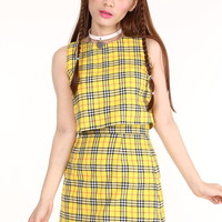 Glitters For Dinner — Made To Order - Charli 2 piece set in Yellow Tartan