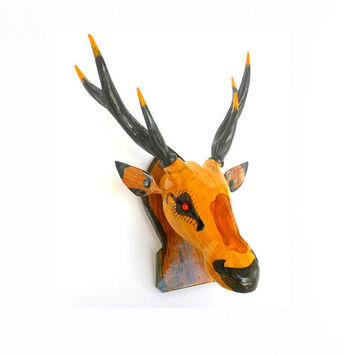 Wood Carving Deer Head Wall Hanging Art Home hand craved Handmade Teak wood Deer Head Decor / gift