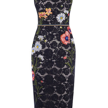 LACE EMBROIDERED PENCIL DRESS - BLACK/MULTI