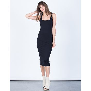 Back Slit Bodycon Dress