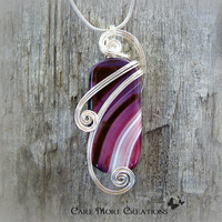 Purple Stripes Agate Wire Wrapped Pendant - Magenta and White Necklace in Silver - Healing Stone
