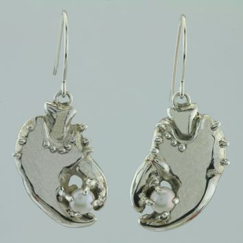 Lobster Claw and Freshwater Pearl Sterling Silver Earrings