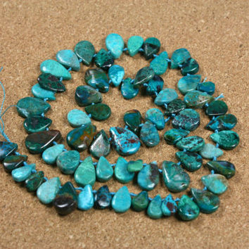 Chrysocholla Teardrop Beads - Blue Green and Brown Smooth Top Drilled Beads