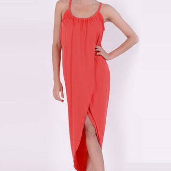 Sleeveless Asymmetrical Crossover Maxi Dress