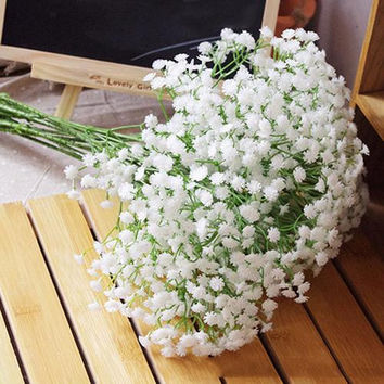 NEWUnique 1 Head Artificial Baby's Breath Gypsophila Silk Flower For Party Wedding Home Decoration