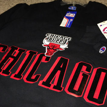 Sale!! Vintage Champion CHICAGO BULLS black sweater Basketball Nba jersey shirt Michael Jordan made in Usa size Large Free US shipping