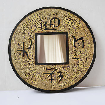round mirror, asian mirror, decorative mirror, wall decoration, wooden mirror, indonesian decor