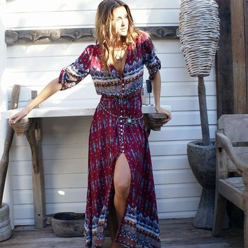 2017 new Bohemian printing long dress women maxi long dress floral print retro hippie vestidos chic