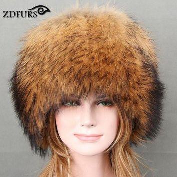 CREYCI7 Glaforny 2017 Autumn and winter Women 's Genuine Raccoon Dog Fur Hat Real Fox Fur Hat Dome Mongolian Caps for Russian Female