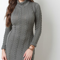 Cable Knit Turtleneck Long Sleeve Dress