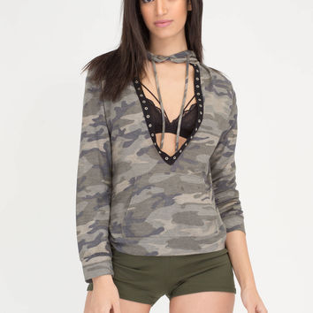 Fashion Duty Plunging Camo Hoodie Top GoJane.com