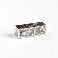 Vintage 800 Silver Lipstick Holder Case - 1930s 1940s Italian Art Deco Turquoise Vine Embossed Makeup Accessory Jewelry