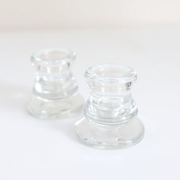 """Set of 2 Clear Glass Taper Candle Holders - 2.25"""" Tall"""