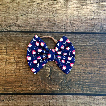 tulip bow, baby bows, baby headband, newborn headband, baby girl headband, tulip bow headbands, baby bow set, hair bows, floral hair bows