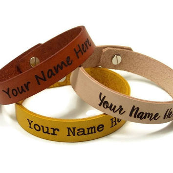Personalized Bracelet Leather, Upgraded Post (Button) Closure, Couples Leather Bracelet, Custom Leather Bracelet, Laser Engraved Bracelet