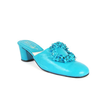 1960s Mules Turquoise Blue Leather Heels