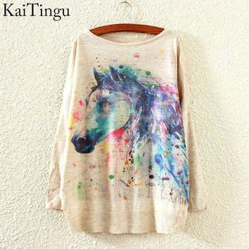 KaiTingu New Fashion Autumn Winter Clothing Women Sweater And Pullover Long Batwing Sleeve Jumper Knitwear Horse Print