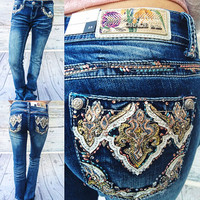 GRACE IN L.A DAMASK DREAM BOOTCUT JEANS