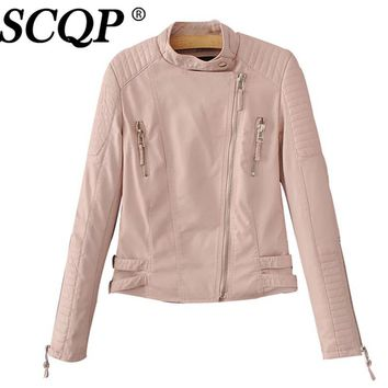SCQP Long Sleeve Solid Red Leather Jackets Women Winter Fashion Biker Jacket Zippers PU Ladies Faux Leather Jacket Female 2016