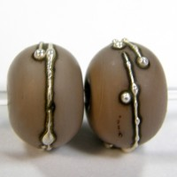 Opaque Mud Slide Brown Handmade Lampwork Glass Beads 703 Shiny Shiny (Choices of Etched, .999 Fine Silver, Shapes, Sizes, Large Hole Beads Extra)