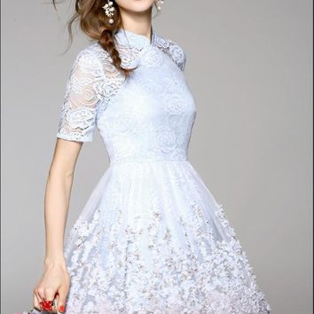 Lace Dress With Flower Detail