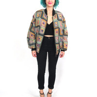 90s Silk Abstract Print Bomber Jacket Quilted Geometric Print Oversize Hip Hop Puffy Insulated Outerwear (M)