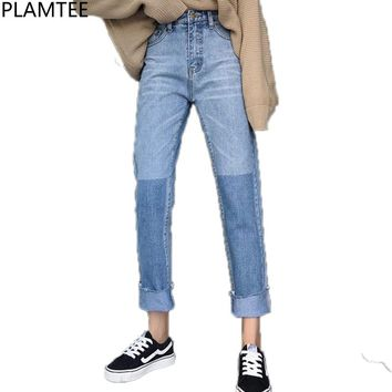 PLAMTEE Cuffs Vintage Jeans Women Panelled Korean Straight Denim Pants High Street Loose Warm Jean Trousers Autumn Winter 2017