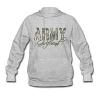 Spreadshirt Women's Army Girlfriend Hoodie, Grey, S