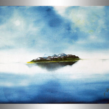 Island - Island painting - water painting - oil painting - mountain painting - sea painting - blue island art - original art - lonely island