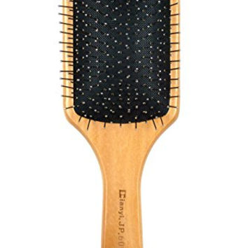 Natural Wooden Massage Hair Brush, Metal Bristles With Cushion, Large Square Paddle Brushes